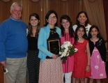 Kathleen O'Grady Elliot, Class of 1986, was inducted into the Rockland High School Academic Hall of Fame. Her family gathered with her to celebrate at the dinner at the Emerald Hall in Abington.