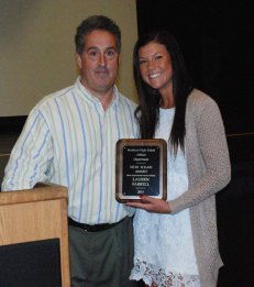 Lauren Farrell received the Vicki Solari Award from AD Gary Graziano.