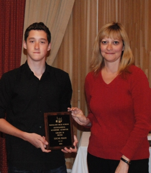 Lucas Haas is the grade 10 academic achiever in Music, presented by Guidance Director, Melanie Shaw.