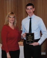 Matt Kirslis is the grade 11 academic achiever in math, presented by Guidance Director, Melanie Shaw