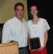Athletic Director Gary Graziano presented Natalie Ellard with the John Delorey Award.
