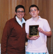 Thomas Shiner is the grade 10 academic achiever in Pre-Engineering, presented by Science Department Chair, Sam Hoyo.