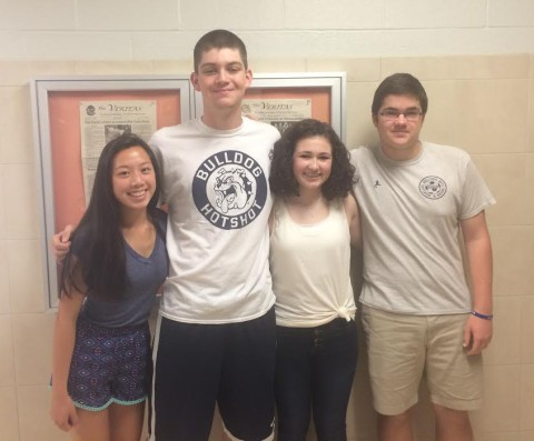 From left to right: Class Secretary, Izzy Uong, Class President, Aiden Glennon, Class Vice President, Macie Jones, and Class Treasurer, Sean Sugrue have ideas for fundraisers in the works.