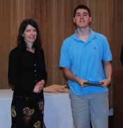 Michael Ivanoskos is the grade 11 academic achiever in world language presented by Foreign Language Department Chair, Stephanie Palmer.