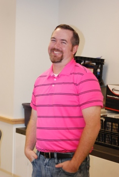 History teacher Mr. Rowe looking good in pink.