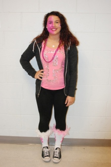 Junior Talia Rindone going all out in pink
