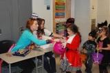 Jasmin Morse and Kaya Kelly hand out candy