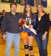 Sam DeMarco with her parents John and Laune DeMarco