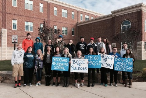 RHS's bocce teams and fans pose outside Whitman-Hanson Regional High School.