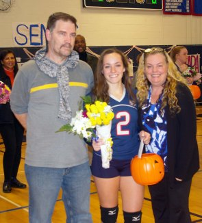 Angela Turner with her parents Ginny and Dave