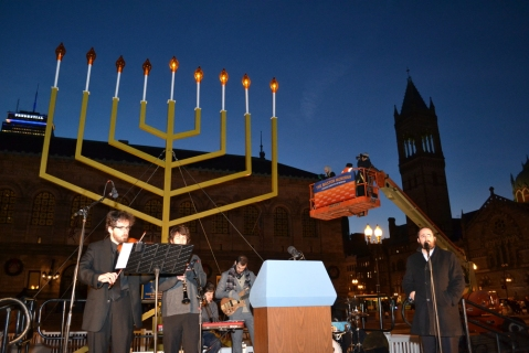 Lighting the menorah in Copley Square on December 12, 2012 with Governor Deval Patrick. Photo from Chabad Boston.