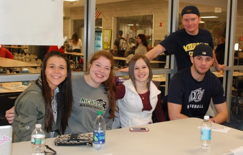 Julia Ferrante, Ally Cerratto, Rachel Spinney, Matt Nicholson and Mike Leavitt at the College Fair.