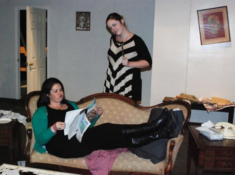 Joanne White and Kendra Donovan modeling the odd couple at rehearsal.  photo by Jill Donahue