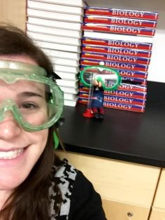 Cluster the Elf and Ms. DiCanzio ready for an experiment.