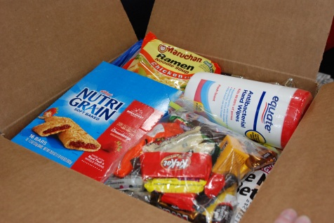 One of the finished Care Packs for soldiers.
