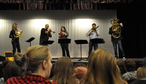The Alliance Brass performed in the auditorium for music students at Rockland. photo by Zach Pransky