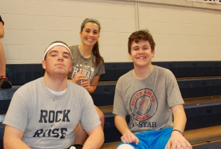 Math teacher Lauren Rizzotti with Mike McPeck and John Glennon made up the team called Frazzled.