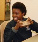 6th grader Makhi Johnson gets ready to look into the viewer photo by Hannah Boben