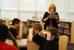 Mara Carey, RMS science/geography teacher led the Google Expedition. photo by Michelle Downey