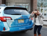 Kristen Thomas from Google arrived at RMS in her special Google car. photo by Michelle Downey
