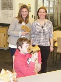 Google representative, Kristen Thomas, technology coordinator, Lisa Ryan and 6th grader, Anthony Gardner