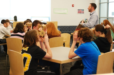 Mr. MacAllister's Rockland High School Social Studies teacher leads a Google Expedition with his U.S. History class. photo by Haley Macray