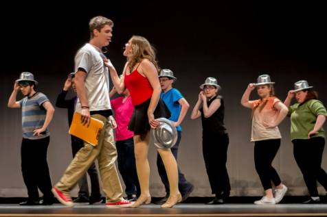 Cassie and Zach discuss the past and the present in A Chorus Line. photo by Patrick Glennon