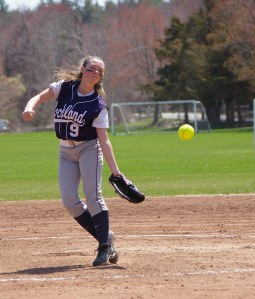 Ali Sammon (shown here against Hingham last year) will share pitching duties with Erin Buckley. Veritas file photo