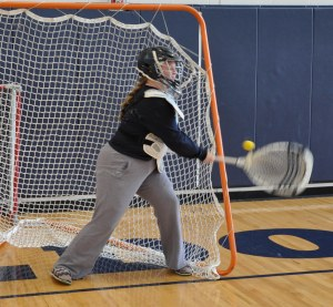 Senior goalie Caitlin Yannizzi at practice before the first game. Veritas photo