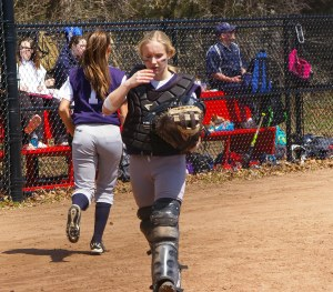 Junior Julia DiCienzo will be behind the plate for the Lady Dogs. Veritas file photo