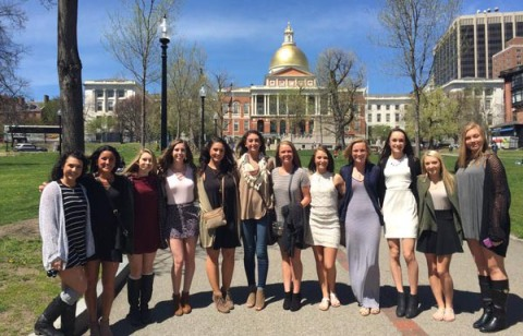 The State Champion Rockland High School Cheerleaders visited the State House in Boston today. They were guests of Senator John F. Keenan