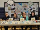 Left to right: Lauren Zaremba, Luana Lima, Jillian Schofield and Ryan Hooper at the Arts Festival on Tues. April 14. Veritas Photo