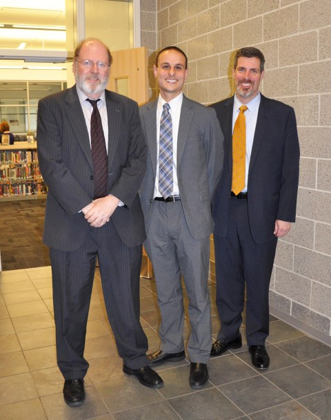 Mr. John Harrison, center, with John Retchless, superintendent of schools and Alan Cron, principal of RHS.