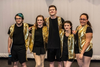 Seniors' last show: Jeremy Bradley, Leah DeCecco, John Glennon, Sarah Hunter and Lauren Illes. photo by Patrick Glennon