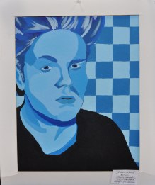 Shawn Ward, Art IV Monochromatic Self-Portrait, Acrylic on Canvas was on display at the Rockland Public Schools Arts Festival