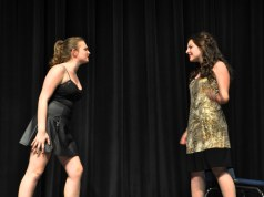 "Leah DeCecco, left and Sophie McLellan performing ""Take Me or Leave Me"" from Rent. Veritas Photo"