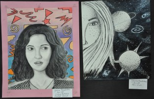 Yousra Bendarkawi, Art III: left Celeb Portrait in pastel, pencil and right: Pen and Ink Drawing.