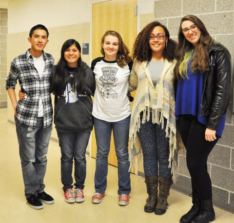 Left to right: Sean Vo, Rebekah Panaro, Leah DeCecco, Lauren Illes, and Rebeca Portela represented RHS at SEMSBA on April 8 and 9. Genesis Rojas (not available for picture) also represented RHS at Milton High School. photo by Tahmya Cappra Veritas Staff