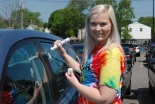 Meghan Foster decorates her car