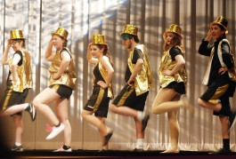 Part of the finale chorus line: Erin Field, Morgan Foster, Sophie McLellan, Jeremy Bradley, Leah DeCecco and Sean Vo.