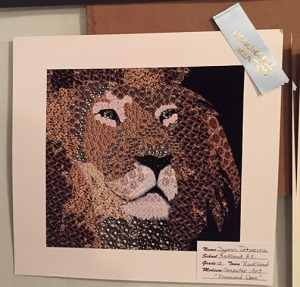 "Syan Teixeira's computer art ""Diamond Lion"" received an Honorable Mention at the Second Parish Church Arts Festival. photo by Mrs. Gibson"