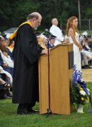 Superintendent John Retchless addresses a graduating class for the last time.