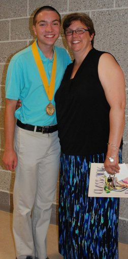 Valedictorian Ryan Sugrue and Mrs. Kathy Hoffman