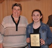 Ms. Paulding and Sarah Pollard, Grade 9 Art and Tech Ed. winner