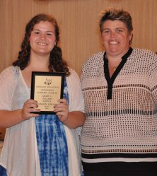 Shannon Lindahl with Ms. Paulding. Shannon was awarded for English and Science.
