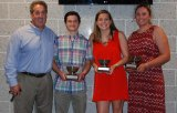 Winners of silver bowls for earning 10 or more letters in their high school careers were left to right: Shane Murray, Sarah Margolis and Caroline Kilduff. Shown here with Gary Graziano, RHS athletic director.
