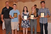 Mr. Grimmett with Declan Rogers, Saoirse McNally, Julia DeCienzo, and Matthew Rocha, History/Social Science Award winners