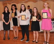 Mrs. Palmer with World Language Award winners: Tatianna Hill, Katie Houde, Sabrina Sprague and Rebecca Taylor.