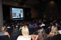 Katie L. Greer presents to the high school students.