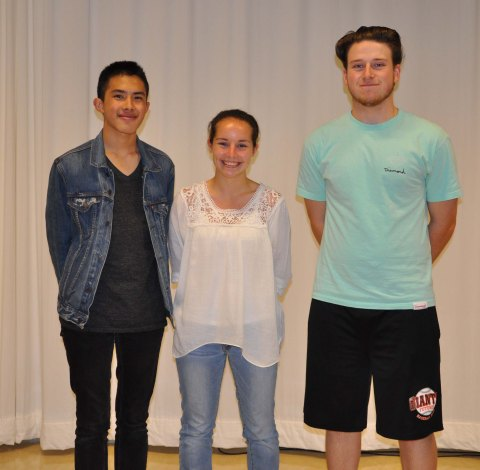 Left to right are seniors, Sean Vo, Sophie McLellan and Joe Taft